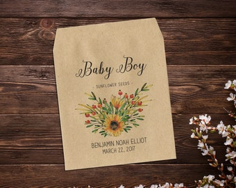 Birth Announcement Seed Packets, Seed Favor, Baby Boy Announcement, Sunflower Seeds, Baby Boy, Seed Packets, Seed Packet Favor x 25