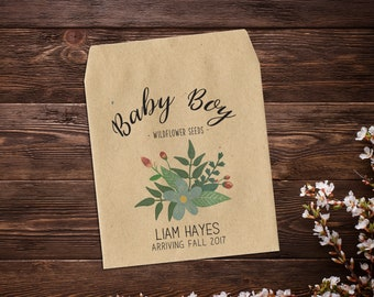 Baby Boy Announcement, Birth Announcement Seed Packets, Seed Favor, Sunflower Seeds, Baby Boy, Seed Packets, Seed Packet Favor x 25