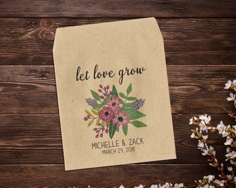 25 Wedding Seed Packets, Rustic Wedding, Custom Seed Packets, Pink Personalized Wedding Favor, Custom Seed Wedding Favor, Wedding Favor