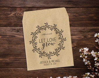 Wedding Favor, Seed Packet Envelope, Seed Favor, Wedding Seed Packets, Woodsy Wedding, Wedding Favor, Boho Wedding, Let Love Grow x 25