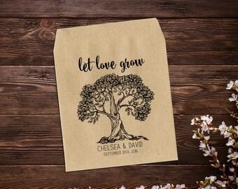 Wedding Seed Packet, Rustic Wedding Favor, Barn Wedding, Personalized Favor, Seed Packet Favor, Let Love Grow, Seed Favor, Tree Favor x 25