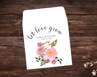 Seed Packet Favor, Seed Packet Envelopes, White Wedding Seed Packet, Let Love Grow, Wedding Favor, Watercolor Wildflowers Floral x 25