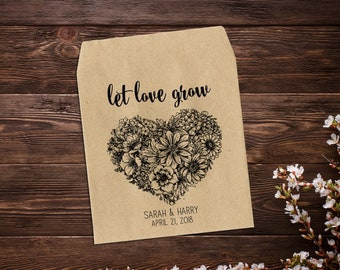 Let Love Grow, Wedding Seed Packets, Rustic Wedding Favor, Seed Packet Favor, Heart Wedding Favor, Personalized Favor, Seed Favor x 25