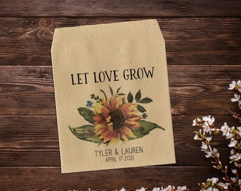 Sunflower Seed Packets, Wedding Seed Packets, Seed Packet Favor, Sunflower Seed Favor, Let Love Grow, Sunflower Wedding Favor, Boho Wedding