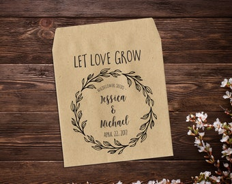 Custom Seed Packets, 25 Seed Favors, Wedding Favor, Kraft Seed Envelope, Seed Packet, Let Love Grow Favour, Rustic Wedding Favor