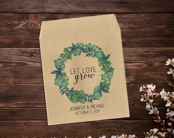 Custom Seed Packets, 25 Let Love Grow Seed Packets, Wedding Seed Packets, Rustic Wedding Favor, Green Wedding, Wedding Favour