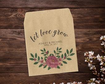 Let Love Grow Favor, Wedding Seed Packets, Pink Peony Flowers, Seed Packets, Custom Seed Packet, Rustic Wedding Favor, Peonies x 25