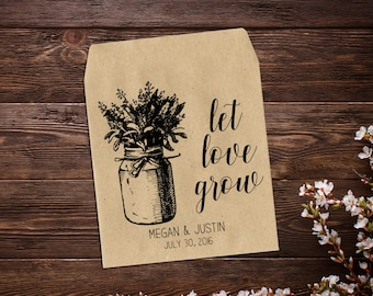 Wedding Favors, Seed Packets, Let Love Grow Seed Packets, Wedding Seed Packets, Seed Packet Favors, Seed Wedding Favors, Rustic Favors  x 25