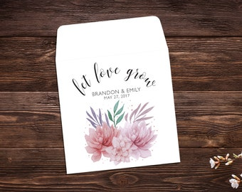 Seed Packet Favor, 25 Let Love Grow Favors, Succulent Favor, Wildflower Seeds, Seed Packets, Wedding Seed Packets, Wedding Favors