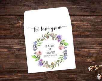 Wedding Seed Packets, Wedding Favors, Let Love Grow Favors, Seed Favors, Seed Packet Favor, Wildflower Seeds, Seed Packet Envelopes
