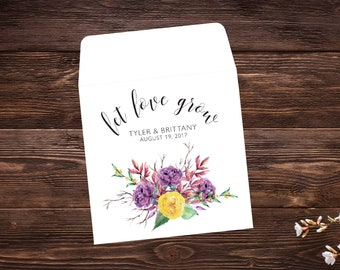 Seed Packet Favors, 25 Let Love Grow Favors, Bridal Shower Favor, Seed Packet Envelopes, Seed Packets, Wedding Favor, Seed Wedding Favor