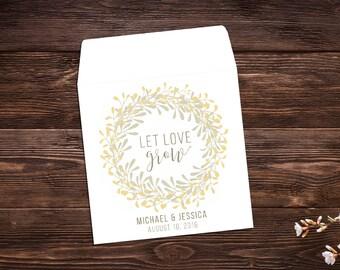 Wedding Seed Packets, Custom Seed Favor, Let Love Grow Favors, Gold Wedding Favors, Bohemian Wedding, Wildflower Seeds, Seed Favor x 25