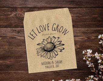 Custom Seed Packets, Wedding Seed Packet, Personalized Favor, Seed Favor, Wedding Favos, Spring Wedding, Let Love Grow, Rustic Wedding x 25