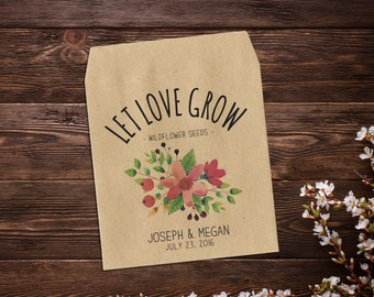 Wedding Seed Packets, Seed Packet Favor, Flower Seed Packet, Let Love Grow, Rustic Wedding Favor, Wildflower Seeds x 25