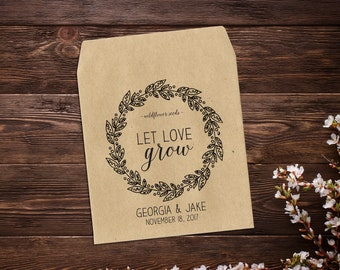 Wedding Seed Packets, Wedding Favor, Seed Packet Envelope, Seed Favor, Wedding Favor, Boho Wedding, Let Love Grow, Kraft Seed Packets x 25