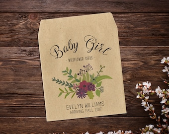 Birth Announcement Seed Packets, Seed Favor, Baby Announcement, Sunflower Seeds, Baby Boy, Seed Packets, Seed Packet Favor x 25