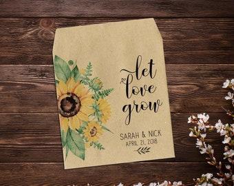 Sunflower Seed Packets, Custom Seed Packets, Seed Packet Favor, Seed Favor, Sunflower Favor, Rustic Wedding Favor, Garden Wedding, Boho x 25