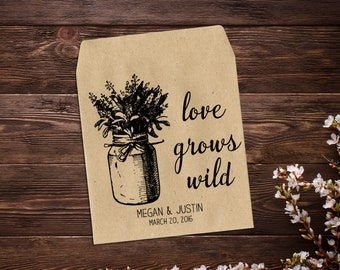 Personalized Wedding Favor, Custom Seed Packets, Rustic Wedding Favor, Mason Jar, Seed Envelopes, Let Love Grow Favor, Seed Favor x 25