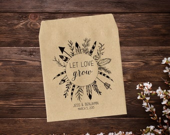 25 x Personalized Wedding Seed Packets, Wedding Favors, Seed Envelopes, Seed Packets, Let Love Grow, Seed Favors, Rustic, Boho Wedding