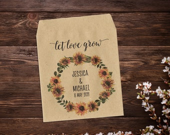 Sunflower Seed Packets, Rustic Wedding Favor, Wedding Seed Packets, Seed Packet Favor, Seed Favor, Let Love Grow, Sunflower Wedding Favor
