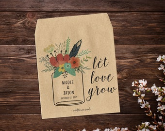 Wedding Seed Packets, Seed Packet Favor, Mason Jar Favor, Custom Seed Packets, Garden Wedding Favors, Let Love Grow, Rustic Wedding Favor