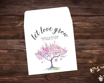 Let Love Grow, Seed Packet Favor, Seed Packet Favors, Wedding Seed Packets, Pink Wedding Favor, Custom Wedding Favor, Summer Wedding x 25
