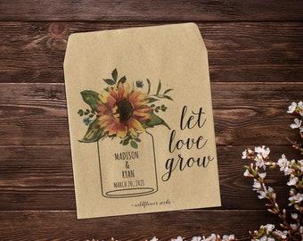 Wedding Seed Packets, Sunflower Seed Favor, Seed Packet Favor, Seed Favor, Let Love Grow, Rustic Wedding Favor, Garden Wedding