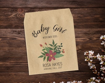 Baby Girl, Birth Announcement Seed Packets, Seed Favor, Baby Announcement, Sunflower Seeds, Seed Packets, Seed Packet Favor x 25