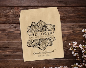 Wildflower Seed Packets, Wedding Seed Packet, Personalized Favor, Rustic Wedding, Vintage Wedding, Let Love Grow, Seed Packet Favor x 25