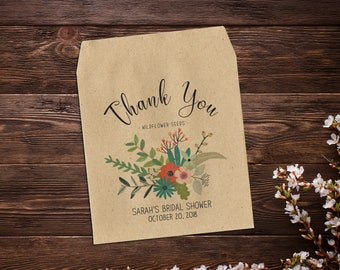 25 Seed Favors, Boho Wedding, Bridal Shower Favor Bags, Personalized Seed Packets, Wedding Favor, Rustic Wedding, Seed Packet Favor x 25