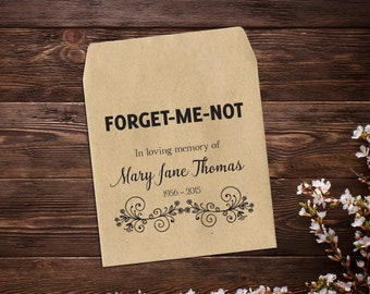 Memorial Seed Packets, 25 Seed Packet Favor, Funeral Seed Packets, Forget Me Not, Life Celebration, Seed Favor, Seed Favors, Custom Favor
