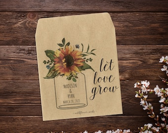 Sunflower Seed Favor, Seed Packets, Wedding Seed Packets, Seed Packet Favor, Seed Favor, Let Love Grow, Rustic Favor, Rustic Wedding x 25