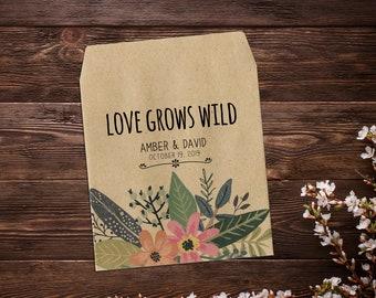 Custom Seed Packets, Seed Packet Favor, Garden Wedding Favor, Seed Packets, Woodland Wedding Favors, Let Love Grow, Rustic Wedding Favor