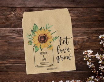 Sunflower Seed Packets, Seed Packet Favor, Seed Packet Favors, Mason Jar Favor, Wedding Seed Packets, Let Love Grow, Wedding Favour x 25