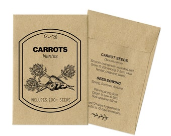Carrot Seeds, 200+ Seeds, Carrots, Vegetable Seeds, Carrot Nantes, Seed Kit, Gardening Gift, Seeds Kids, Seed Gift, Vege Seeds