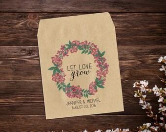 Seed Packet Favor, Wedding Seed Packets, Flower Seed Favor, Let Love Grow, Rustic Wedding, Custom Seed Packets, Garden Wedding x 25