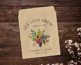 Let Love Grow, Wedding Seed Packet, Seed Packet Favor, Flower Seed Favor, Rustic Wedding, Custom Seed Packets, Garden Wedding x 25