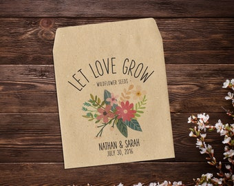 Wedding Seed Packets, Let Love Grow Favor, Seed Packet Favor, Flower Seed Favor, Garden Wedding Favor, Wildflower Seeds, Garden Wedding x 25