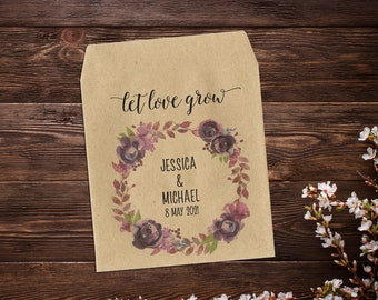 Seed Packets, Seed Wedding Favor, Let Love Grow, Wedding Seed Packets, Purple Floral Favor, Rustic Wedding, Seed Packet Favors, Seed Favor
