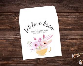 Tea Party Favors, Wedding Favor, Bridal Shower Tea Party, Wedding Tea Favor, Custom Tea Bags, Tea Favor, Let Love Brew, Tea Party