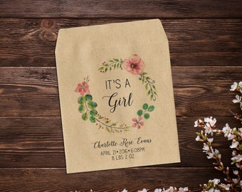 Seed Packet Favor, Baby Announcement Gift, Baby Girl, Birth Announcement, Baby Girl Announcement, Seed Packets, Seed Packet Favor x 25