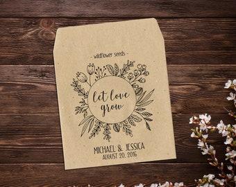 25 Seed Favor, Wildflower Seed Packets, Garden Wedding, Wedding Favor, Boho Wedding, Seed Packet, Let Love Grow, Rustic Wedding