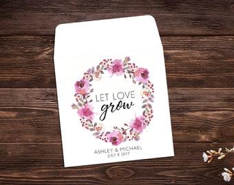 Let Love Grow Favor, Seed Packet Favor, Wildflower Seeds, Wedding Seed Packets, Pink Wedding, Wedding Favor, Pink Floral x 25