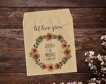 Sunflower Seed Packets, Boho Favor, Seed Packet Favor, Seed Packet Favors, Wedding Seed Packets, Let Love Grow, Rustic, Wedding Favours x 25