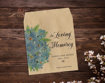 Funeral Favor, Seed Favor, Memorial Favor, Funeral Seed Favor, Forget Me Not Seeds, Grief Gift, In Loving Memory, Seed Favor Packet x 25