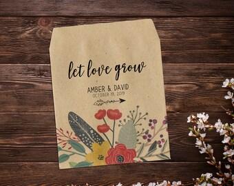 Seed Packet Favor, Custom Seed Packets, Garden Wedding Favor, Seed Packets, Woodland Wedding Favors, Let Love Grow, Rustic Wedding Favor