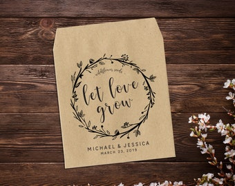 Seed Packets Favor, Wildflower Seed Packets, Let Love Grow Favor, 25 Wedding Favor Bags, Wedding Favor Ideas, Seed Favor, Bombinaire