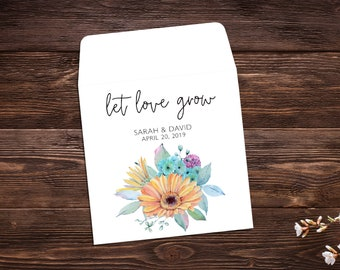 Let Love Grow Favors, 25 Seed Packet Favors, Seed Favor, Wedding Favor, Seed Packet, Wedding Seed Packet, Seed Favor, Summer Wedding x 25