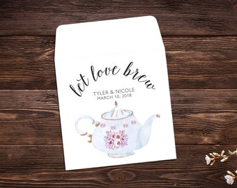 Tea Party Favors, Wedding Favor, Bridal Shower Tea Party, Wedding Tea Favor, Custom Tea Bags, Tea Favor, Let Love Brew, Tea Party x 25