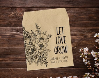 Seed Packets, Seed Packet Favor, Wedding Seed Packets, Rustic Wedding, Wedding Favor, Let Love Grow, Personalized Favor, Seed Favor x 25